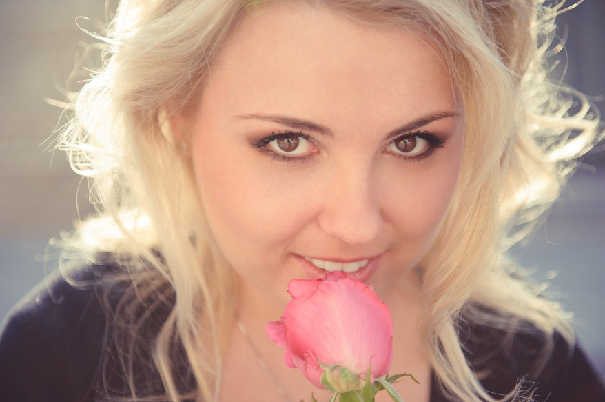 Pretty Blond Lady with rose