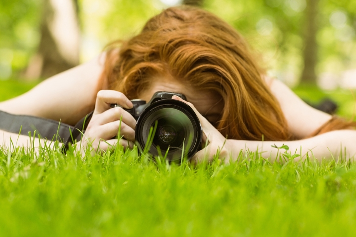 Female photographer at the park