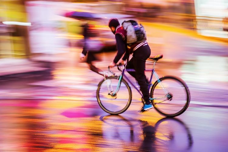 bicycle rider at night traffic