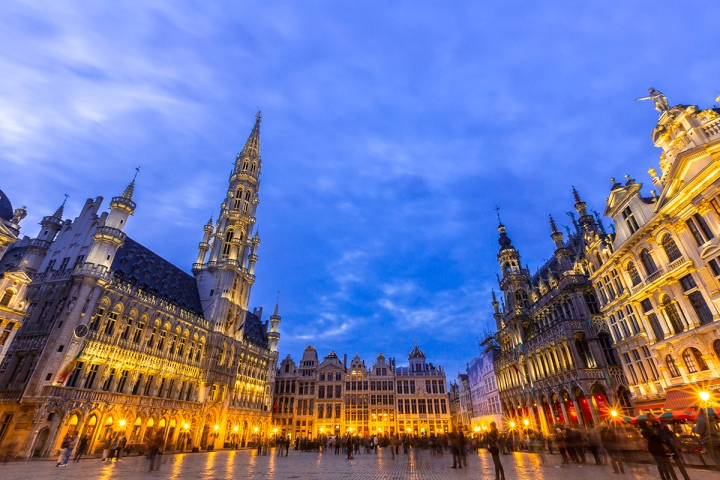 Grand place at dusk Brussels,Belgium