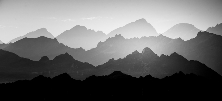 A beautiful, abstract monochrome mountain landscape. Decorative,