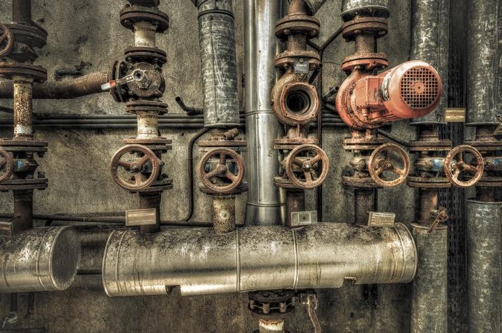 Industrial boiler room in a derelict factory