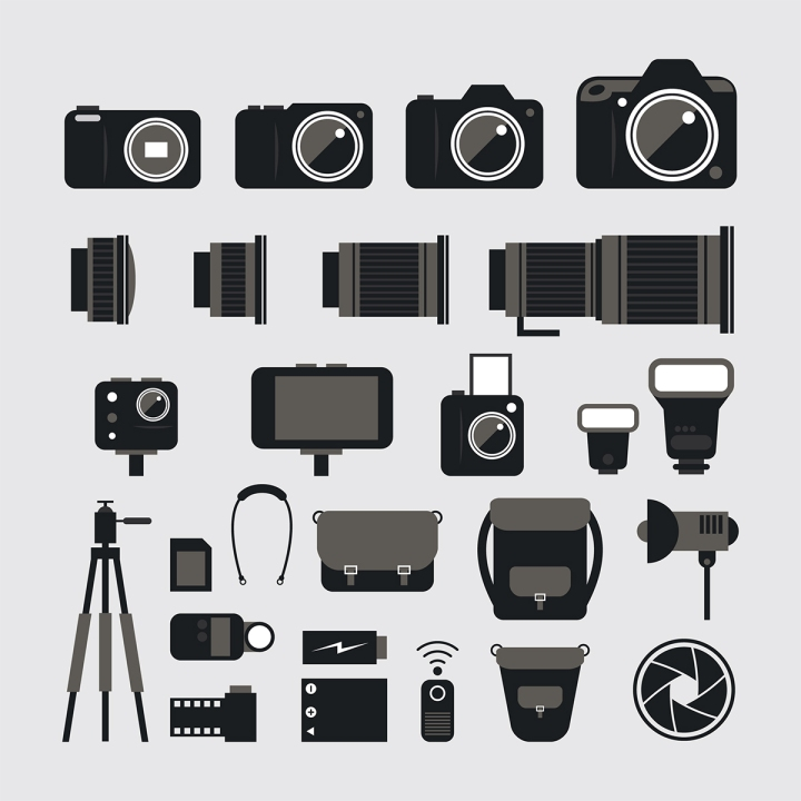 Camera, Photography Flat Icons Set