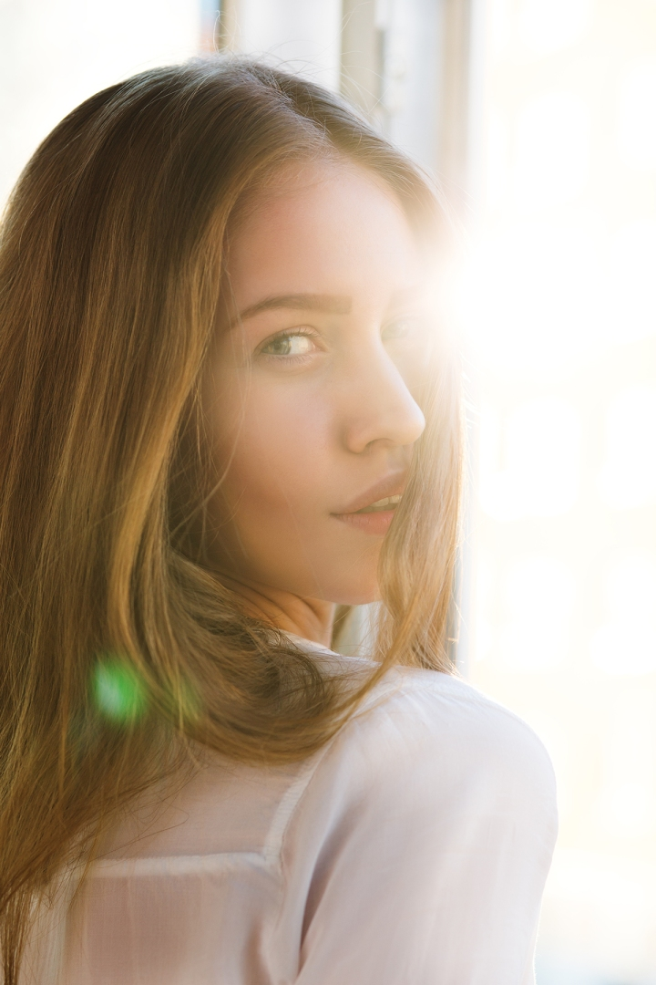 woman in light flare