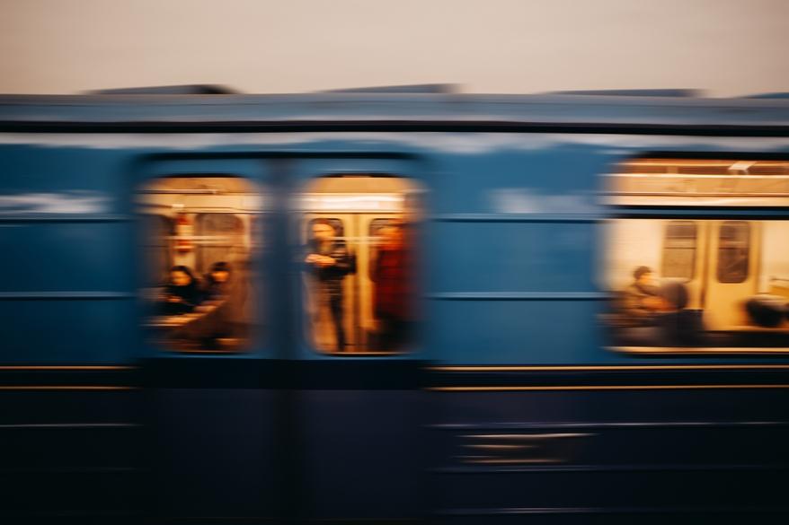 Subway metro city underground in fast motion blur background