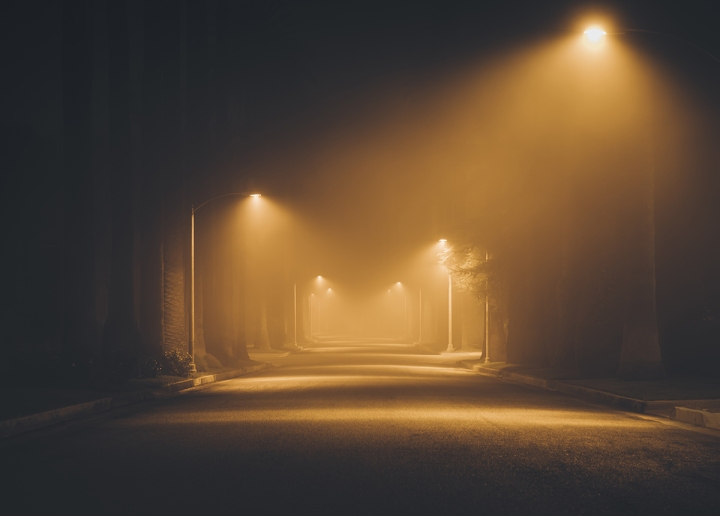 Night street in the fog.  Los Angeles. California. America. Nov