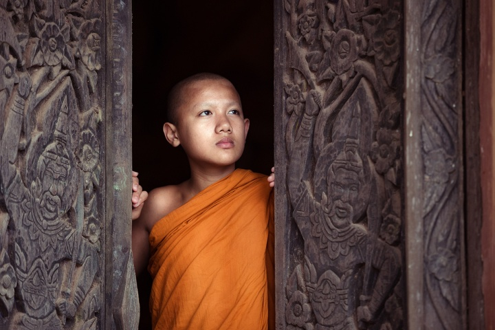 The boy or novice monk buddhist in religion buddhism at Thailand
