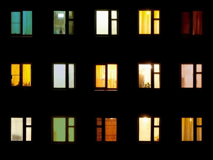 Night windows - block of flats background