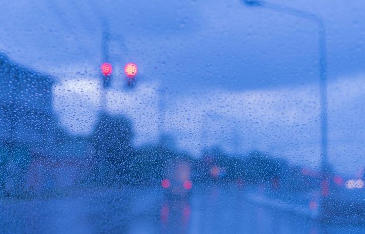 Drops Of Rain On Glass with bokeh.