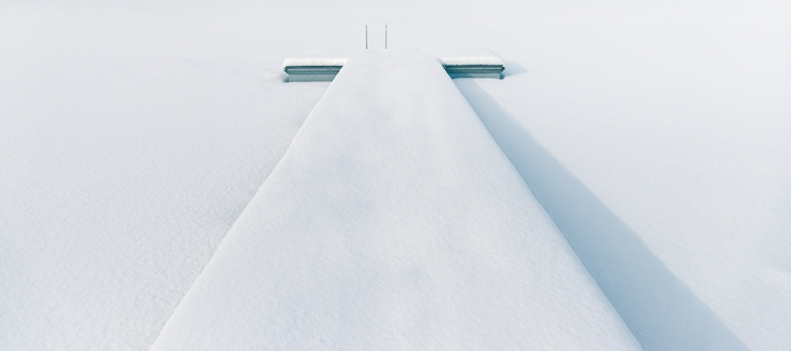 minimalistic, snow at bathing area at the lake in winter. Quiet,