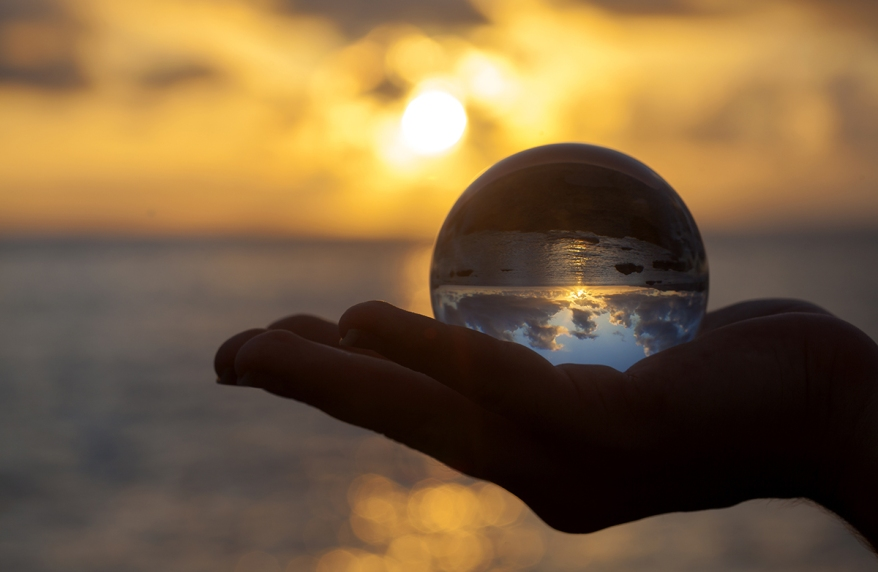 Crystal ball photography - sunset beach