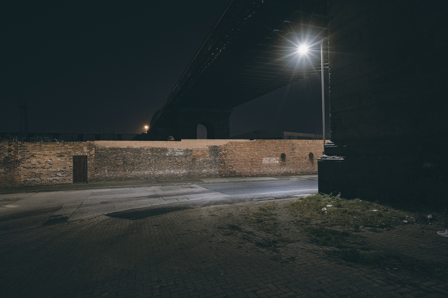 City streets at night in the North East of England