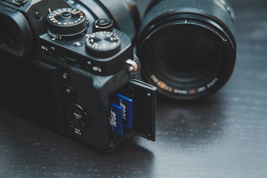 Fujifilm camera with memory cards